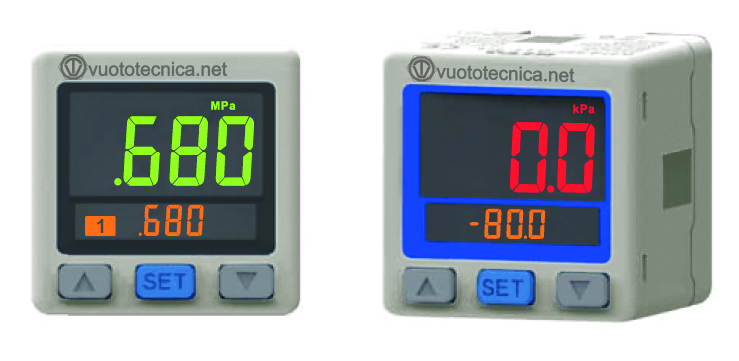 New digital vacuum and pressure switches with two-colour display