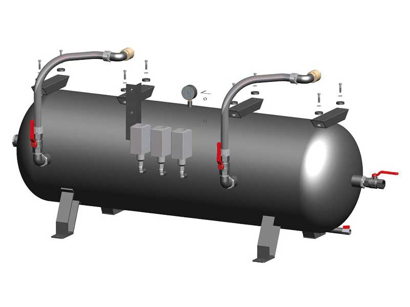 Tanks for horizontal safety pumpsets with two vacuum pumps