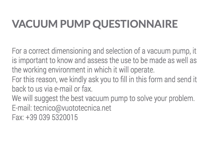 Vacuum pump questionnaire