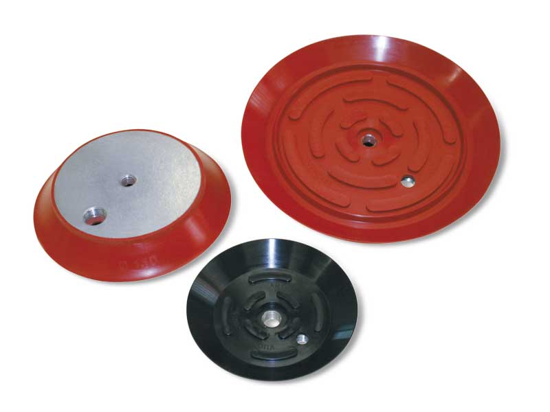 Flat round vacuum cups with vulcanised support