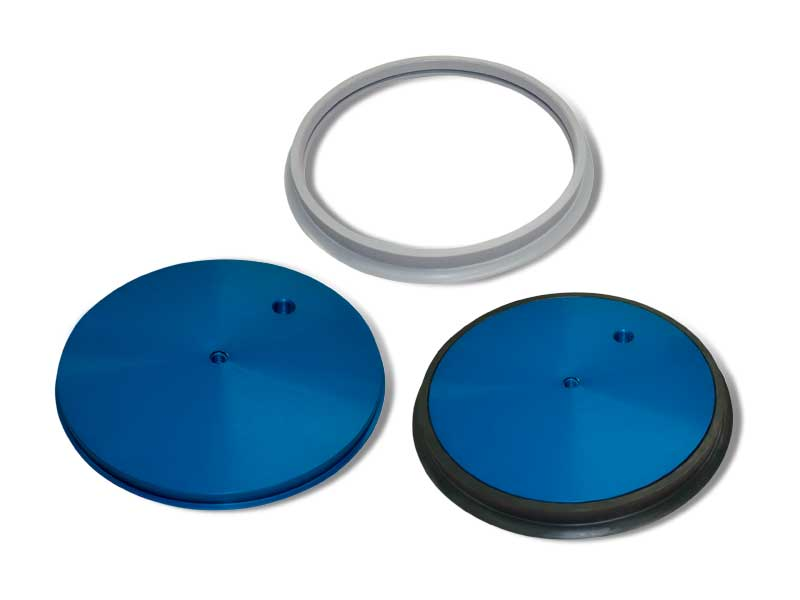 Round flat vacuum cup with support