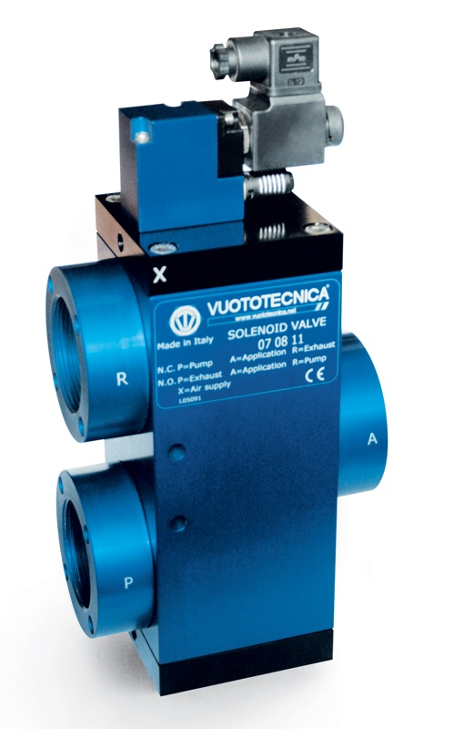 Servo-controlled 3-way vacuum solenoid valves