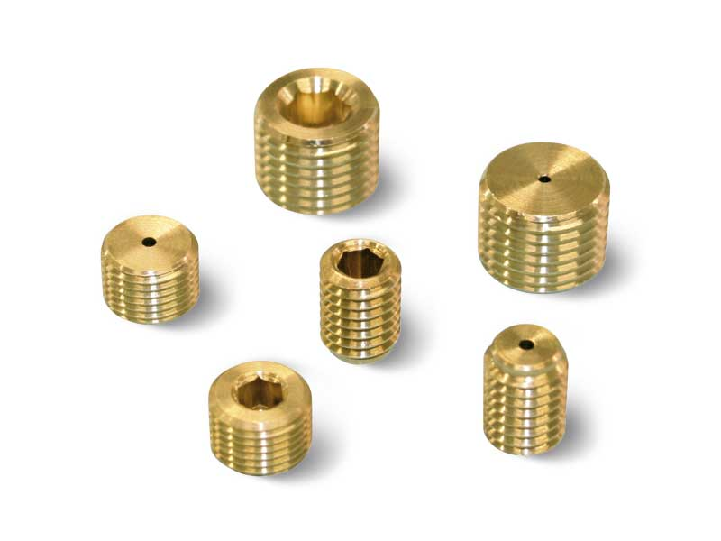 Threaded grub screw with calibrated hole - reductions