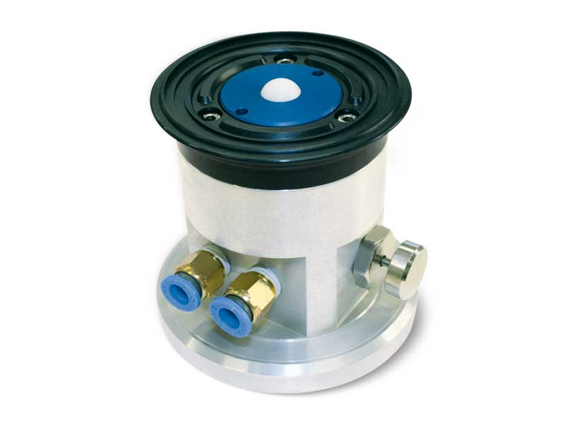 Circular cups with ball valve, self-locking support and release button, for glass